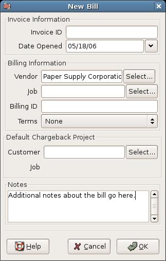 New Bill Registration Window