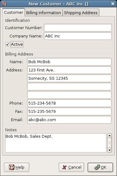 New Customer Registration Window
